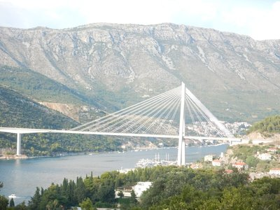 This modern bridge opened in 2002 for traffic coming from the north into Dubrovnik; Marilyn and Dorothy's ship docked right under it as it abuts the new cruise port