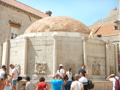 The large Onofrio Fountain, designed in 1438, delivers water from 16 carved stone heads; Dubrovnik thrived because it had a secure source of fresh water 12km away
