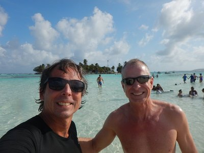We're standing on Acuario sandbar with Haynes Cay in the background; you could walk between the two but water was chest high