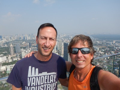 The Bangkok Skywalk is atop the country's tallest skyscraper and offers views over the incredibly sprawling city; it's an innovative, modern tourist attraction which gave us a rest from temples