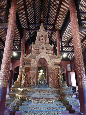 The Phra Buddha Sihing statue inside Wihan Lai Kham at Wat Phra Singh; Chiang Mai was the former capital of the kingdom of Lan Na (1296–1768)