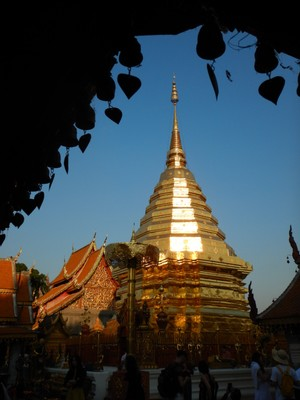 The most impressive feature of Wat Phra That Doi Suthep is the chedi towering 79 feet; this gold plated spire is typical of Northern Thailand with its heightened octagonal base, ringed spire, smooth spire, and tiered chatra (umbrella) at the top
