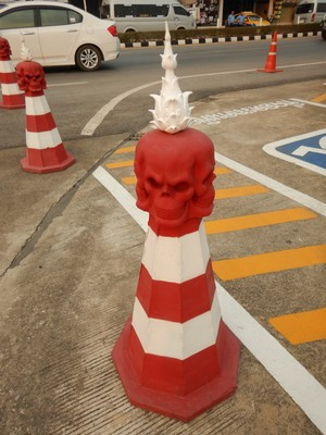 I just loved this traffic/construction cone!; our visit to the temple was brief but a much needed break on the long drive from Chiang Mai to the Laos border