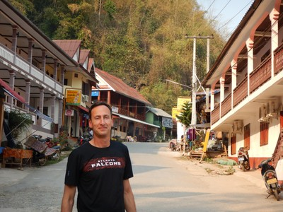 We stopped in Pakbeng for the night on our two day journey down the 2700 mile Mekong River; behind Jonathan is virtually the entire town which was mainly small guesthouses, used clothing stores and street food vendors