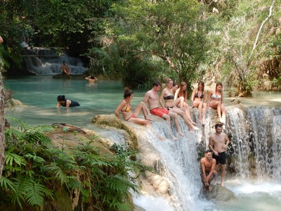 The Tat Kuang Si Waterfalls are a must see for anyone visiting Luang Prabang so every tour group stops here; our trip included an excellent (I was told) lunch with a local family