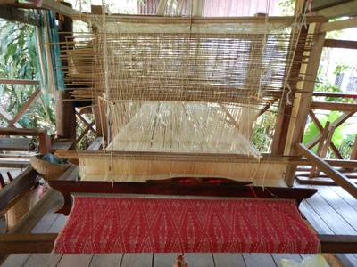 Our tour stopped by Ock Pop Tok to learn about how locals make traditional Laotian textiles; visitors can take courses on bamboo weaving or dyeing and weaving your own scarf and textiles