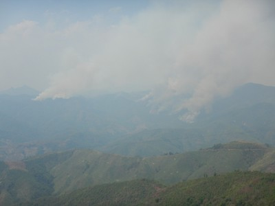 Throughout Laos we have dealt with extremely smoky skies as locals burn land so that they can farm it; I don't think the burners even own the land since people seem to farm any area they can