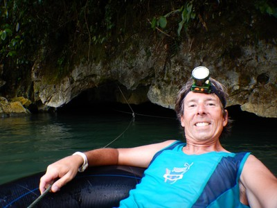 We took a cool tubing trip along this lengthy underground river that was within the cave behind me; you pulled yourself along using a rope system