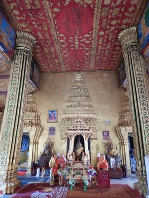 Wat Si Muang; Vientiane is the capital and largest city of Laos, on the banks of the Mekong River which separates Laos from Thailand here