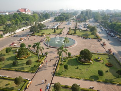 View from the top of the Victory Gate; I'm surprised there were lots of tourists in Vientiane because there really wasn't much to see