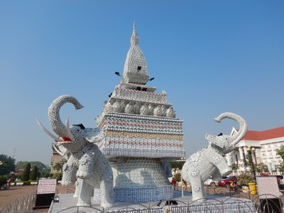 This is a great piece of art!; the stupa is made from common ceramic kitchenware like plates, cups, saucers, etc.