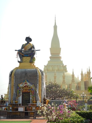 Wat That Luang is the most important national monument of Laos and an icon of Buddhism; legend has it that  missionaries from India erected a stupa here to enclose a piece of Buddha's breastbone in the 3rd c BC