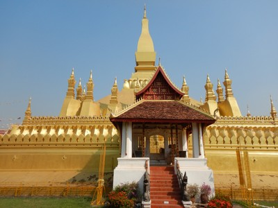 Wat That Luang is 4 kms from the center of town and the most popular tourist sight but there really isn't anything to see; it just seemed a popular photo op