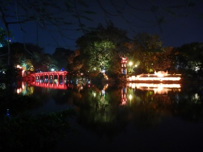 Ngoc Son Temple was beautifully lit at night; Hanoi is sometimes dubbed the Paris of the East for its French influences with tree-fringed boulevards, more than two dozen lakes and thousands of French colonial-era buildings