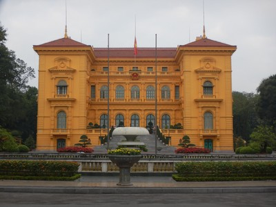 The Beaux Arts Presidential Palace was built as the residence of the Governor General under French colonial rule; today it's used as a guest house and reception facility for foreign dignitaries