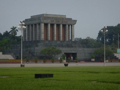 Ho Chi Minh's Mausoleum is modeled after that of Lenin; we visited on Monday when the mausoleum is closed; we were told there are often long lines to view the body