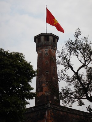 The 200 year old flag tower is a symbol of Hanoi; the tower was one of the few ancient monuments that the French colonists did not destroy