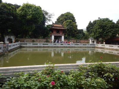 The Temple of Literature; the city is usually cloudy and foggy in winter, averaging only 1.5 hours of sunshine per day in February and March although we had better weather than that