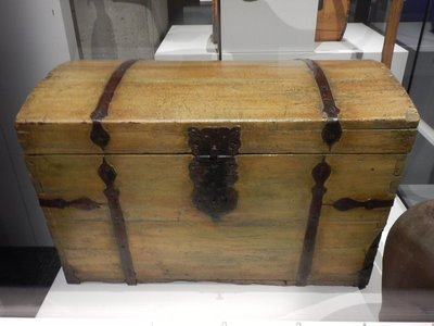 18th c dome top chest; almost every settler's house had a chest; it was sometimes the only piece of furniture and the only place to store items