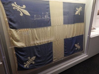 You see the Quebec provincial flag much more frequently here than the Canadian flag