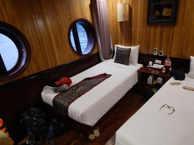 Our cabin was better than I expected but the ship was pretty worn; our group had the ship to ourselves which was ideal since many would not have appreciated our karaoke performances