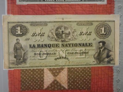 1860 dollar bill; today, bills start at $5 CAD with coins for $2, $1 and smaller