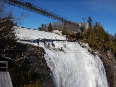 You can see the edge of a zipline platform and the line across the falls; it is closed this time of year but I bought tickets on it for Mike, Gary and Becky for their August visit