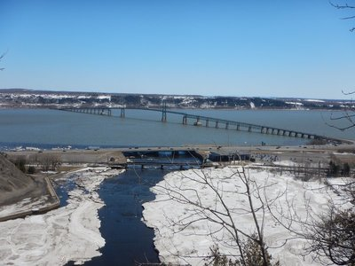 The Ile de Orleans Bridge is almost 3 miles long; bult in 1935, it connects Orleans Island to the rest of Quebec; Orleans Island is the Ellis Island of Canada