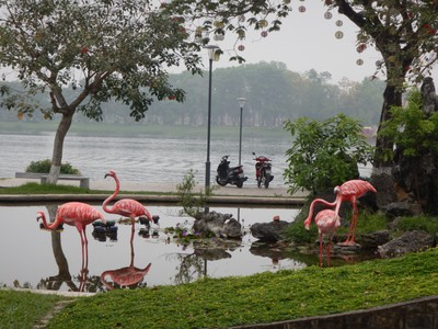 Hue was settled inland on the Perfume River so that ships had safe shelter from the frequent typhoons; I guess real flamingos had less luck so artificial ones are here now