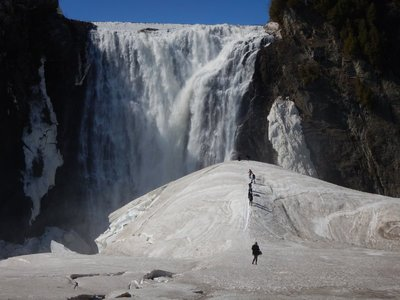 Spray from the falls creates the Sugarloaf; it reached a record height of 126 feet high in 1829; I had to climb to the top and had fun sliding back down