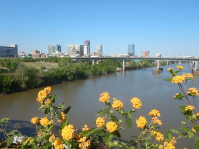 The metro Little Rock area has about 725,000 people and lies on the Arkansas River; lucked out to have great weather