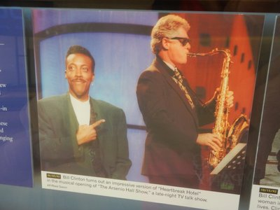 Clinton famously played Heartbreak Hotel on the sax for the Arsenio Hall Show; Clinton was first chair in the Arkansas state band