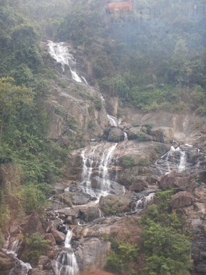 The natural beauty of the area was evident with this waterfall view from the gondola; except for the peak, the mountains have a beautiful canopy of foliage that has been left untouched