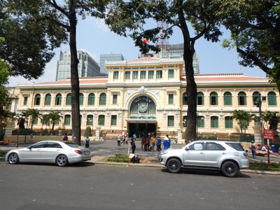 The post office was supposedly built by Gustave Eiffel between 1886 and 1891; painted on the walls of its grand concourse are fascinating historic maps of South Vietnam