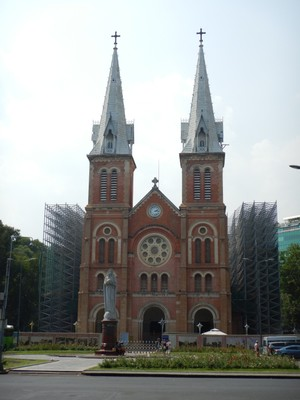 Built between 1877 and 1883, the brick, neo-Romanesque Notre Dame Cathedral has 40 meter high square towers tipped with iron spires; scaffolding covered both sides of the church although I saw no work underway