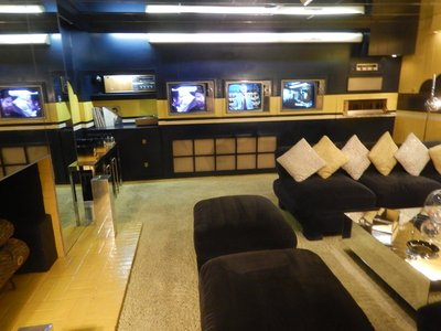 The TV room in the basement was part of a $500,000 renovation project Elvis had done; the cost to visit just the mansion and not any of the exhibits across the street was $39.75