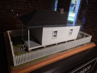 Scale model of shotgun house where Elvis was born on January 8, 1935 in Tupelo, MS; the family moved to Memphis in 1948