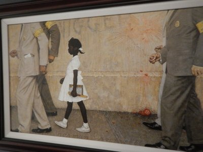 Lithograph by Norman Rockwell entitled The Problem We All Live With, 1964, depicting Ruby Bridges being escorted into school by federal marshals