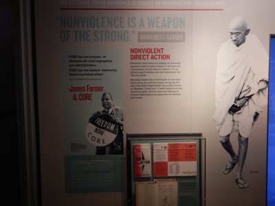 MLK took his non-violent approach from Gandhi; King's homes and churches were firebombed, he received frequent death threats and yet remained unwavering in his non-violent approach