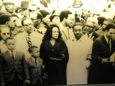 Coretta Scott King along with her children, Jesse Jackson, Harry Belafonte, Andrew Young and Ralph Abernathy lead a memorial march through downtown Memphis 4 days after the assassination