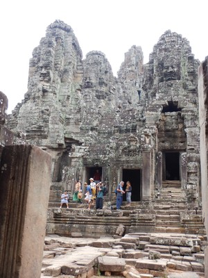 Built in the latter 12th century, Bayon is the centerpiece of Angkor Thom city; it is most recognizable for the 216 giant stone faces of Buddha on its towers