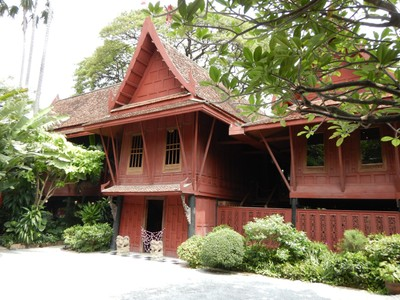 The house of Jim Thompson, an American entrepreneur credited with reviving the silk textile industry in Thailand, is now a museum showcasing his art collection; Thompson disappeared without a clue in 1967