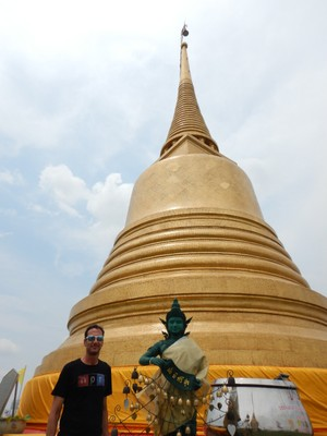 The 19th century Temple of the Golden Mount, on a man-made hill, has become a symbol of Bangkok; we found the taxi drivers here consistently trying to rip-off tourists so we walked everywhere