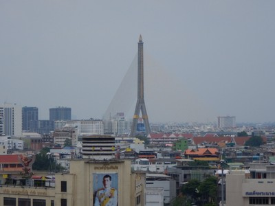 The Rama VIII Bridge has a main span of 980 ft, and was one of the world's largest asymmetrical cable-stayed bridges at the time of its completion in 2002; traffic congestion is severe trying to cross the Chao Phraya River