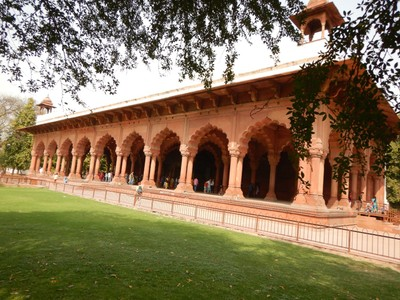 The Hall of Public Audience at the Red Fort, built completely of marble, had a platform for the emperor's throne; we paid a little extra to get the helpful audioguide here