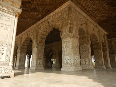 The Hall of Private Audience at the Red Fort is built completely of marble; this is where the emperor received special visitors; stray dogs were everywhere in Delhi