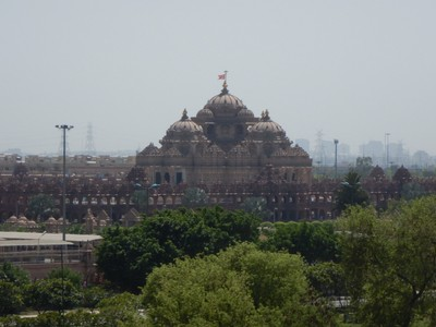 Swaminarayan Akshardham is the world's largest comprehensive Hindu temple (it measures 356 ft long, 316 ft wide and 141 ft high); we had to check our backpacks and no phones or cameras were allowed on the grounds