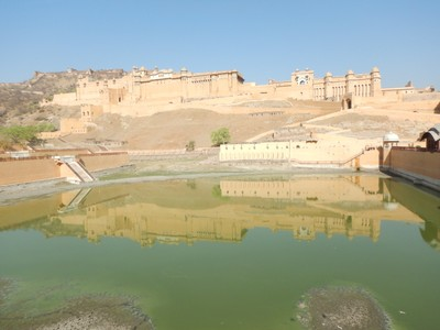 The Amber Fort, built in 1604i, a UNESCO World Heritage Site and the most popular tourist attraction here; Jaipur is brutally hot with a record high of 119 degrees