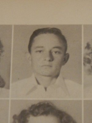 Johnny Cash as a junior in his high school yearbook in Dyess, Arkansas, 1949; he started working in the cotton fields at age 5