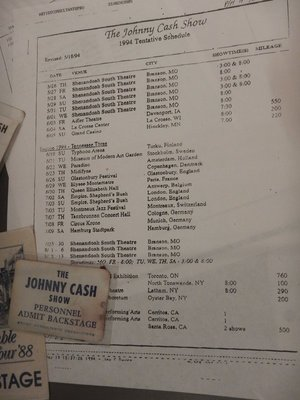Johnny's 1994 touring schedule; Cash is the only artist to have songs on the Billboard charts for six consecutive decades